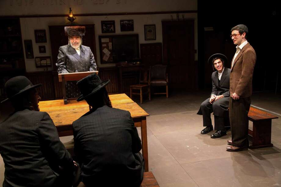 """George Guidall, left, Ben Edelman and Max Wolkowitz in a scene from """"The Chosen."""" Photo: T. Charles Erickson / Long Wharf Theatre"""