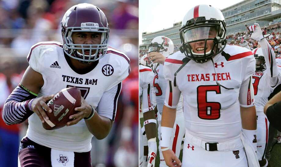 FILE - At left, in a Sept. 20, 2014, file photo, Texas A&M quarterback Kenny Hill (7) scrambles in the first half of an NCAA college football game against SMU, in Dallas. At right, in an Aug. 30, 2013, file photo, Texas Tech quarterback Baker Mayfield (6) gets ready to take the field for an NCAA college football game against Southern Methodist in Dallas. Hill began his college career at Texas A&M. Mayfield at Texas Tech. Mayfield is considered a Heisman favorite with No. 2 Oklahoma and going opposite Hill and No. 10 TCU in the Big 12 championship game on Saturday, Dec. 2, 2017. (AP Photo/File) Photo: STF / AP