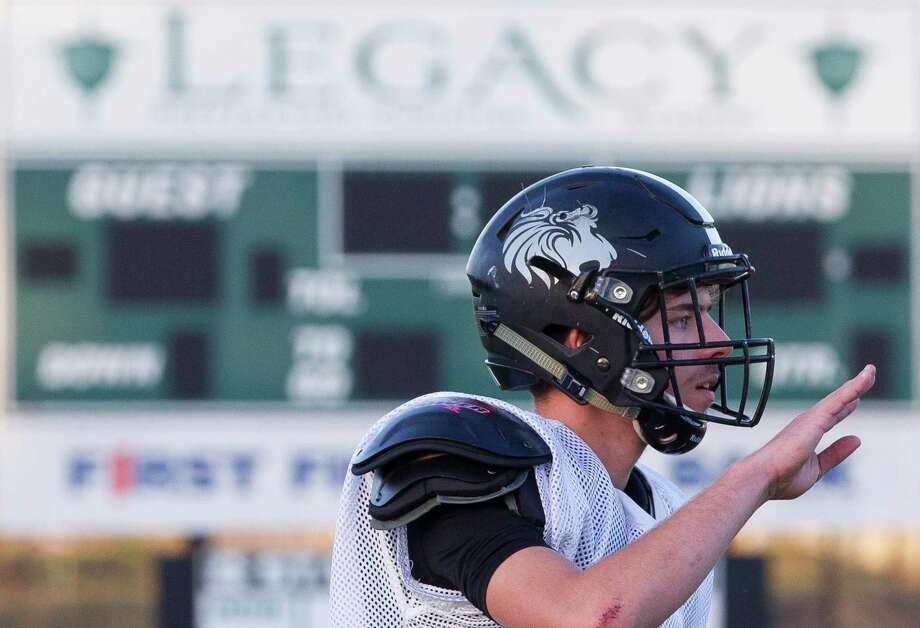 Legacy Prep's Jared May motions for a defensive adjustment during football practice at Legacy Preparatory Christian Academy, Tuesday, Nov. 28, 2017, in Magnolia. Legacy Prep plays Brazos Christian in the TAPPS Division IV state semifinals at noon on Dec. 2 at Cub Stadium in Brenham. Photo: Jason Fochtman, Staff Photographer / © 2017 Houston Chronicle