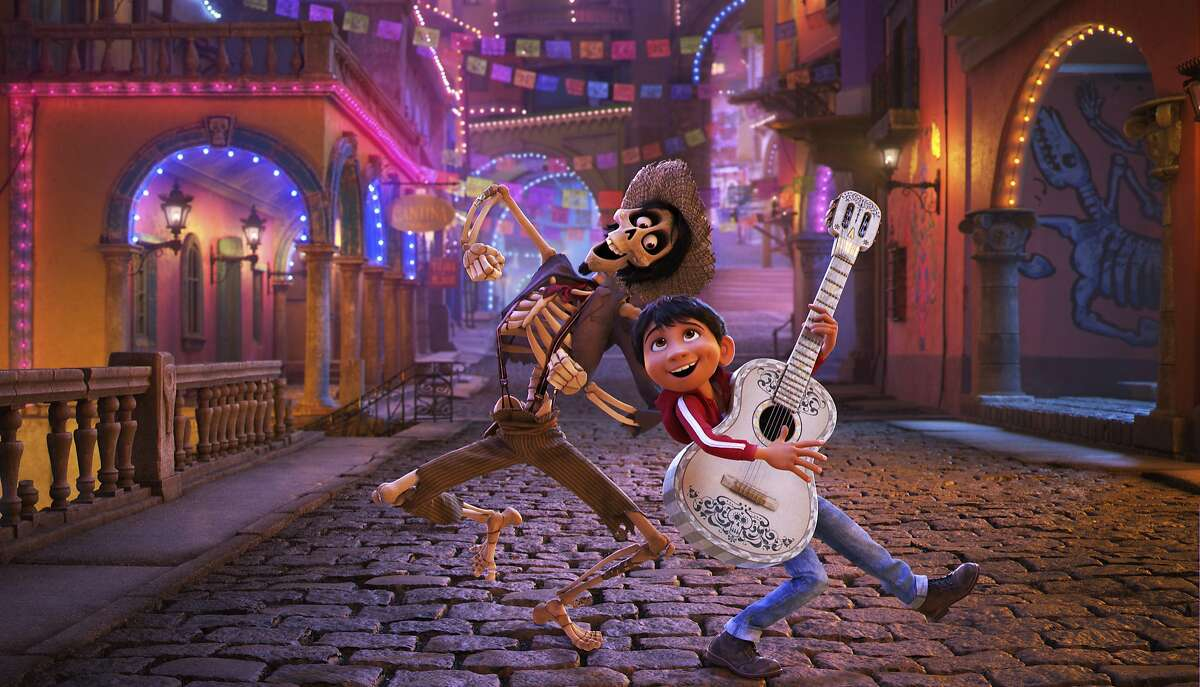 """In this image released by Disney-Pixar, character Hector, voiced by Gael Garcia Bernal, left, and Miguel, voiced by Anthony Gonzalez, appear in a scene from the animated film, """"Coco."""" (Disney-Pixar via AP)"""