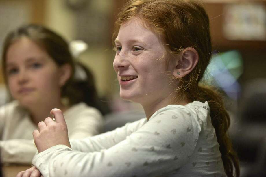 Kara Rondano, 10, talks about her involvement in the Johnson School Healthy Bodies/Healthy Minds program.Thursday afternoon, November 30, 2017, in Bethel, Conn. Photo: H John Voorhees III / Hearst Connecticut Media / The News-Times