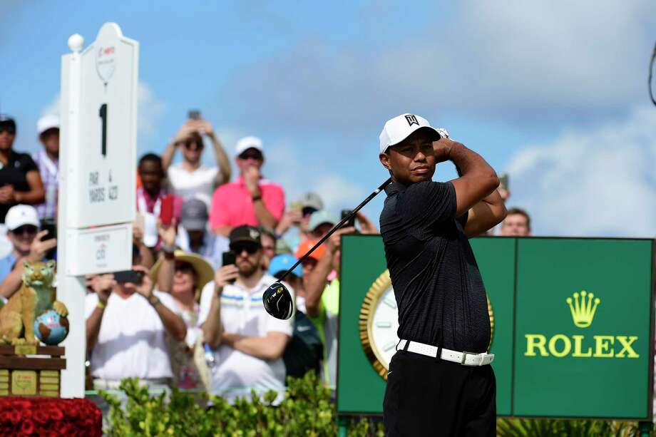 Tiger Woods tees off on the first hole at the Hero World Challenge golf tournament at Albany Golf Club in Nassau, Bahamas, Thursday, Nov. 30, 2017. (AP Photo/Dante Carrer) Photo: Dante Carrer, FRE / Copyright 2017 The Associated Press. All rights reserved.