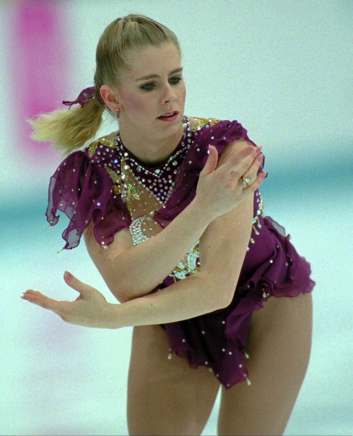 American figure skater Tonya Harding performs her free skating program Friday, Feb. 25, 1994, in Hamar, Norway.