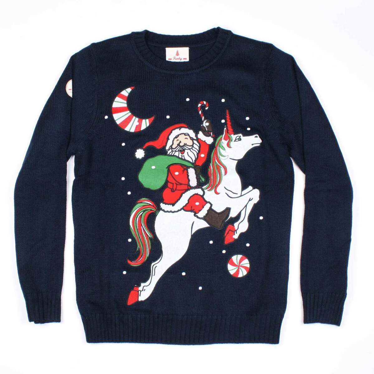 UglyChristmasSweaterParty.com is one of the earlier purveyors of the popular genre. Below and right, quirky designs from Kohl's.