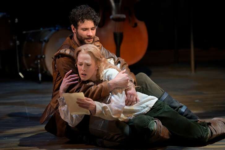 """From left:�Adam Magill as Will Shakespeare and Megan Trout as Viola de Lesseps in Marin Theatre Company's """"Shakespeare in Love."""""""
