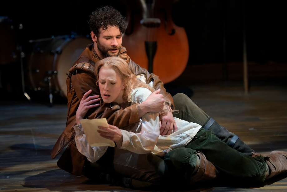 "Adam Magill plays Will Shakespeare and Megan Trout is Viola De Lesseps in Marin Theatre Company's Bay Area premiere of the stage adaptation of the film ""Shakespeare in Love."" Photo: Kevin Berne, Marin Theatre Company"