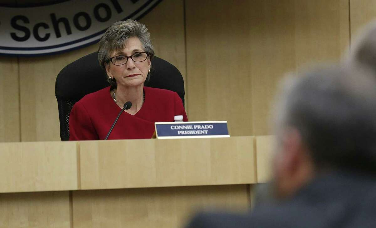 Connie Prado, then the South San Independent School District board president, at a meeting in February 2016, after the board was told of the Texas Education Commissioner's intent to appoint a conservator for the school district. (Kin Man Hui/San Antonio Express-News)