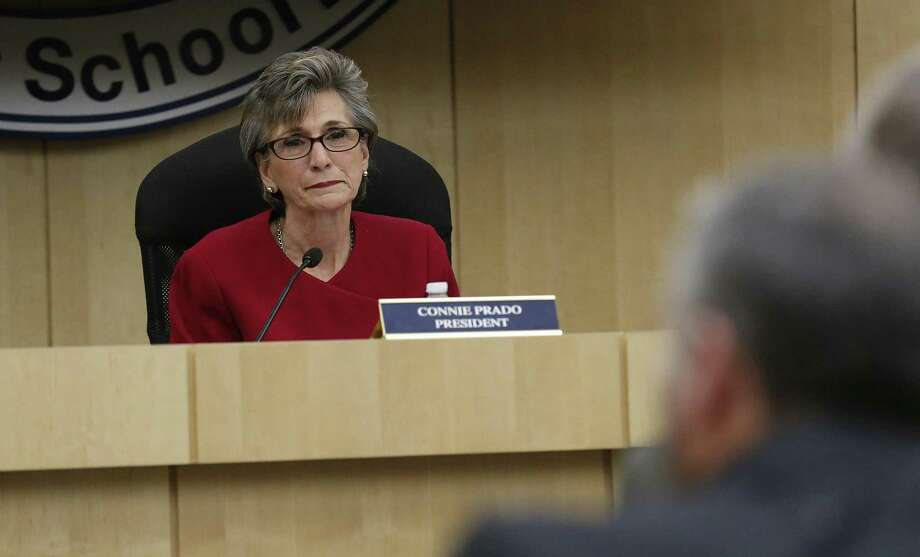 Connie Prado, then the South San Independent School District board president, at a meeting in February 2016, after the board was told of the Texas Education Commissioner's intent to appoint a conservator for the school district. (Kin Man Hui/San Antonio Express-News) Photo: Kin Man Hui /San Antonio Express-News / ©2016 San Antonio Express-News