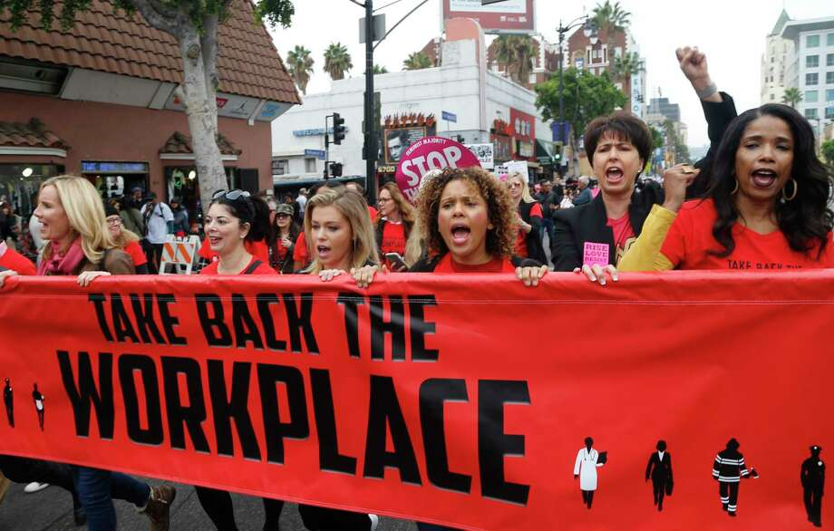 A march against sexual harassment took place in Hollywood last month. The current conversation about sexual harassment could be a cultural turning point. Photo: Damian Dovarganes, STF / Copyright 2017 The Associated Press. All rights reserved.