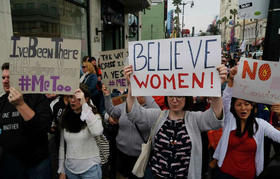 Participants march against sexual assault and harassment at the #MeToo March in Los Angeles on Sunday, Nov. 12, 2017. Photo: Damian Dovarganes, STF / Copyright 2017 The Associated Press. All rights reserved.
