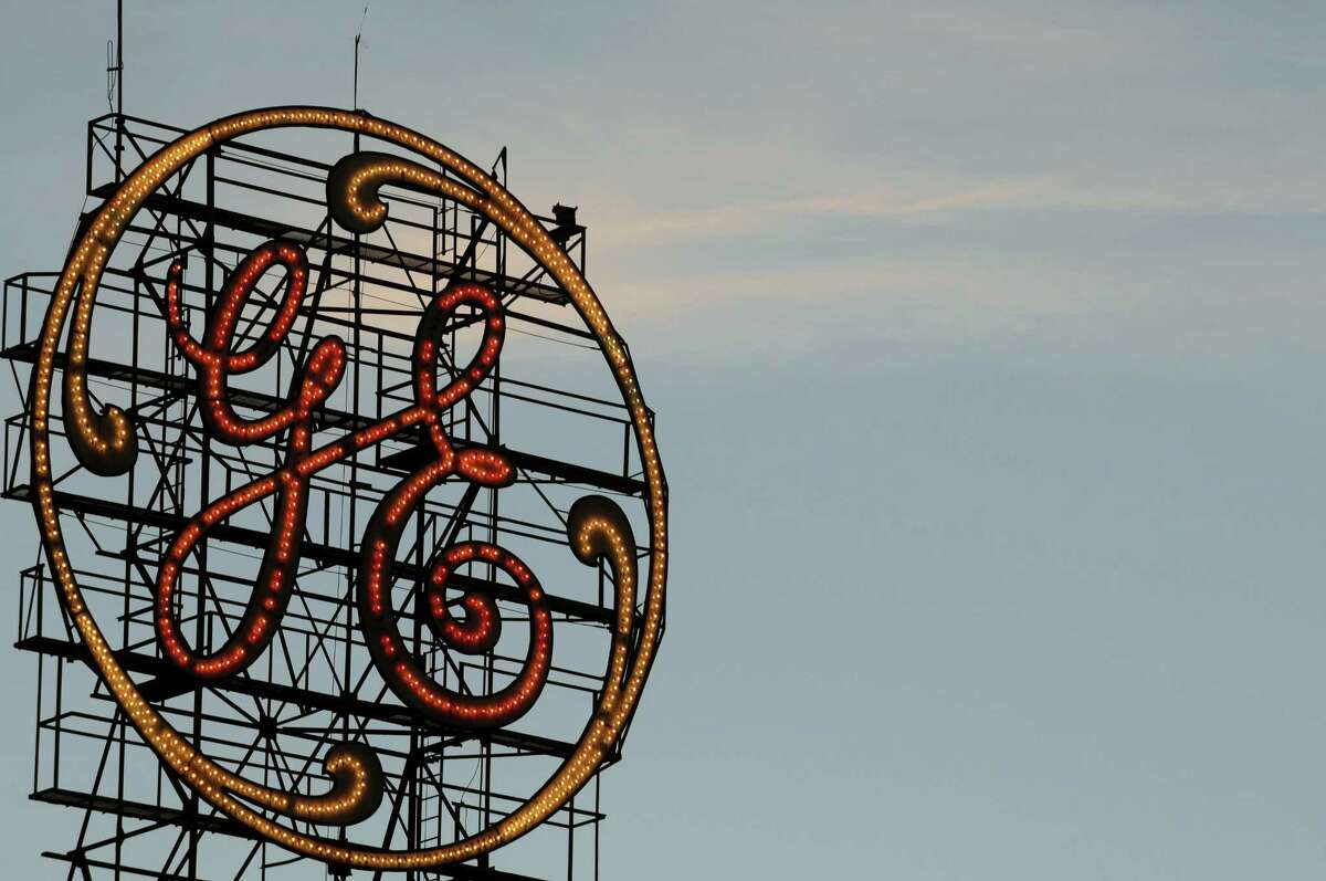 General Electric sign on Tuesday evening, Sept. 15, 2015, in Schenectady, N.Y. (Michael P. Farrell/Times Union archive)