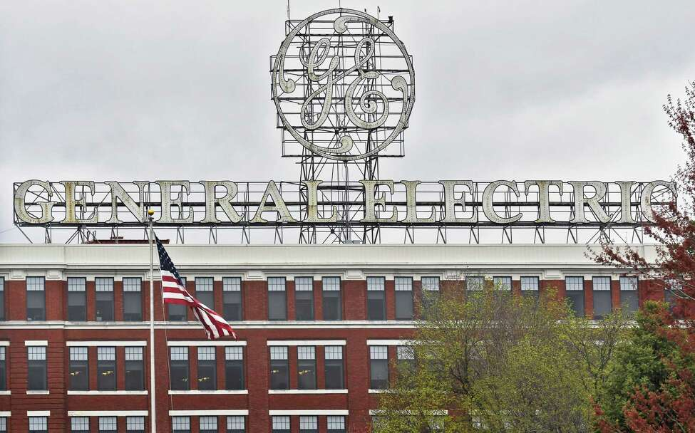 Large sign above GE Power, the General Electric Co. subsidiary headquarters Friday April 21, 2017 in Schenectady, NY. (John Carl D'Annibale / Times Union archive)
