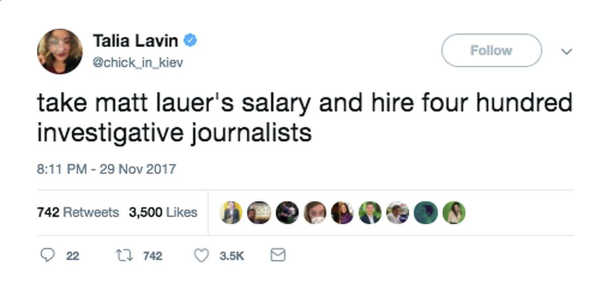 After women accused Matt Lauer of inappropriate workplace behavior, many people took to Twitter to consider better ways his salary could be spent.
