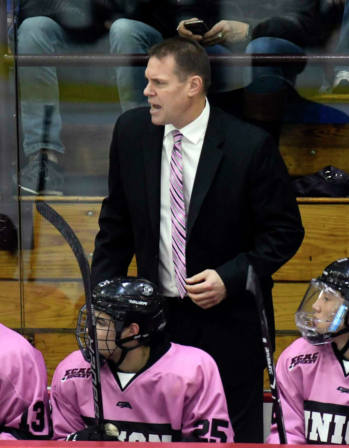 Union Dutchmen head coach Rick Bennet talks to his players during the second period of an NCAA college hockey game against the Rensselaer Engineers Friday, Oct. 27, 2017, in Schenectady, N.Y., (Hans Pennink / Special to the Times Union) ORG XMIT: HP107