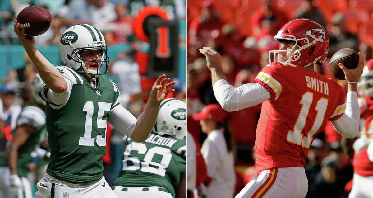 FILE - At left, in an Oct. 22, 2017, file photo, New York Jets quarterback Josh McCown (15) looks to pass during the first half of an NFL football game against the Miami Dolphins in Miami Gardens, Fla. At right, in a Nov. 26, 2017, file photo, Kansas City Chiefs quarterback Alex Smith (11) warms up before an NFL football game against the Buffalo Bills in Kansas City, Mo. The Chiefs play at the Jets on Sunday. (AP Photo/File) ORG XMIT: NY183