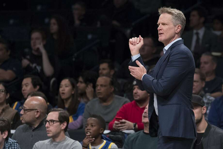 Golden State Warriors head coach Steve Kerr gestures during the first half of an NBA basketball game against the Brooklyn Nets, Sunday, Nov. 19, 2017, in New York. (AP Photo/Mary Altaffer) Photo: Mary Altaffer, Associated Press