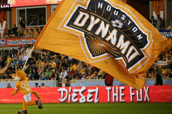 HOUSTON, TX - NOVEMBER 21: Houston Dynamo mascot Diesel The Fox takes the field at BBVA Compass Stadium on November 21, 2017 in Houston, Texas.  (Photo by Bob Levey/Getty Images)