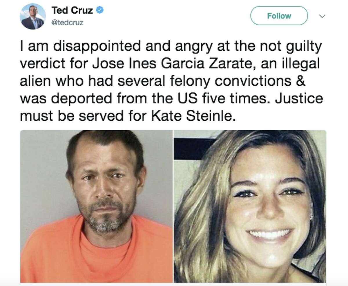 Twitter users expressed outrage after Jose Ines Garcia Zarate was acquitted of murder and manslaughter charges in the shooting of Kate Steinle.