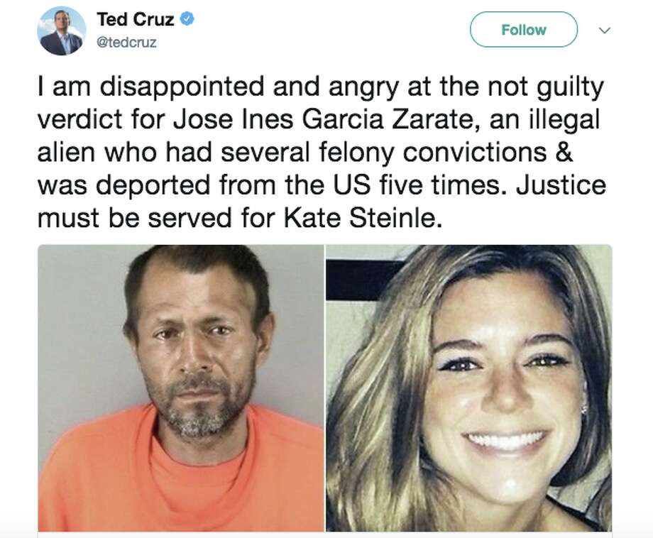 Twitter users expressed outrage after Jose Ines Garcia Zarate was acquitted of murder and manslaughter charges in the shooting of Kate Steinle. Photo: Twitter