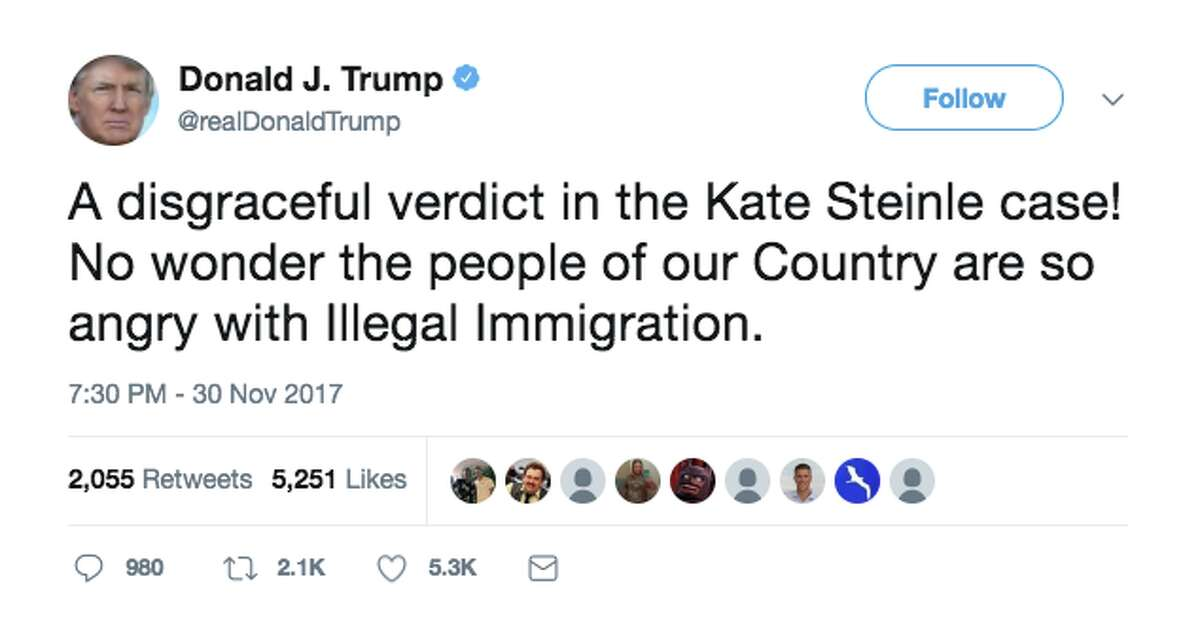 President Trump weighs in on the verdict in the Kate Steinle case.