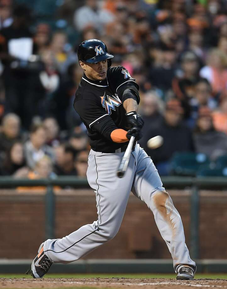 Giancarlo Stanton blasts one of his nine career homers at AT&T Park, in a May, 2014 game. Photo: Thearon W. Henderson, Getty Images