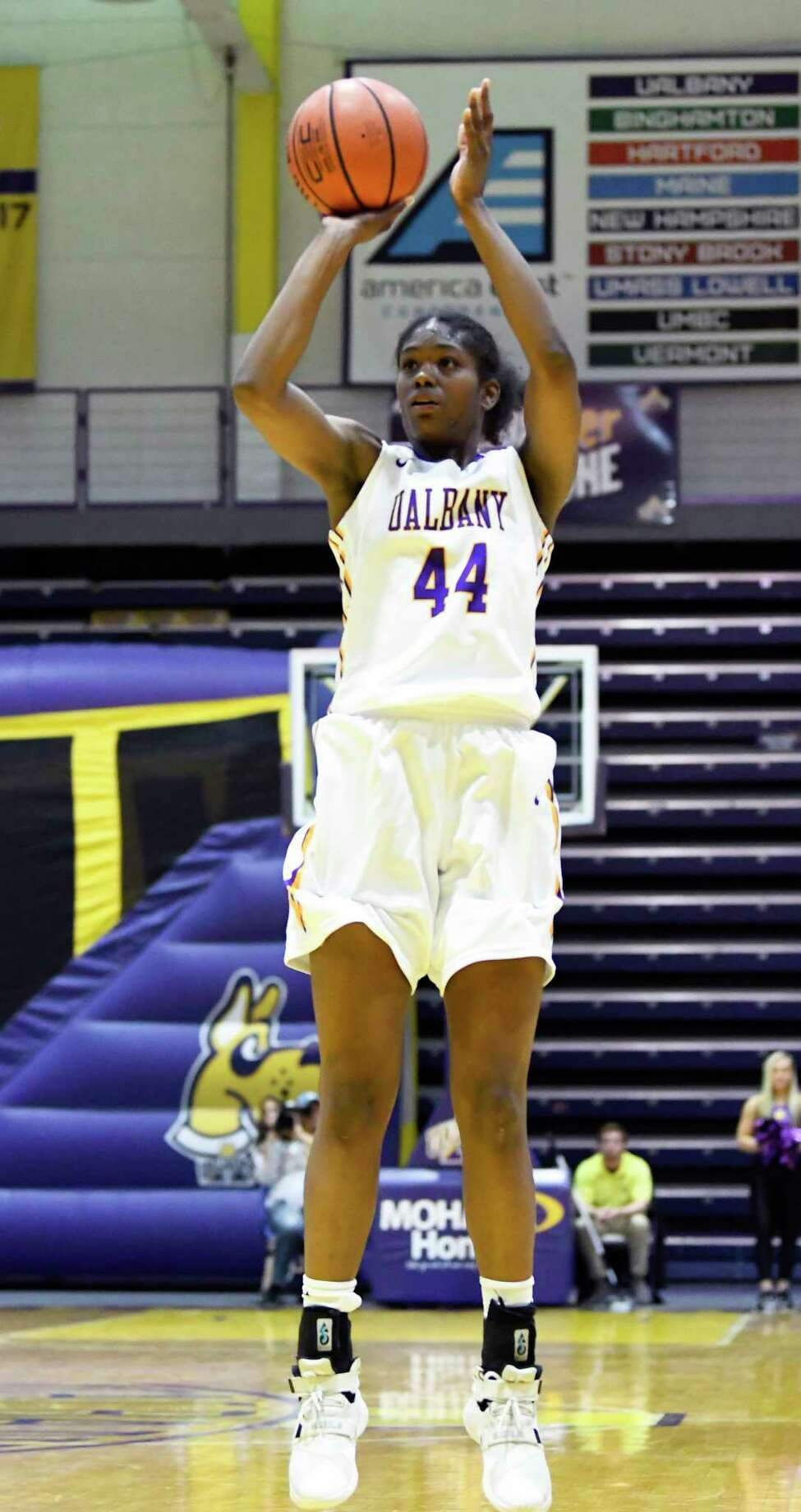 UAlbany's forward Chyanna Canada (44) puts up a shot againt St. John's during the second half of an NCAA college basketball game on Thursday, Nov. 30, 2017, in Albany, N.Y. St. John won the game71-66. (Hans Pennink / Special to the Times Union) ORG XMIT: HP106