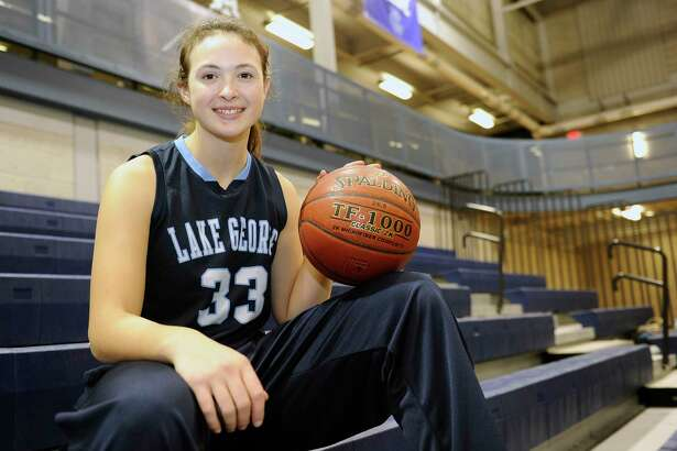 Lake George's Graceann Bennett before the start of a girls high school basketball game against Cohoes' on Thursday, Nov. 30, 2017, in Cohoes, N.Y. (Hans Pennink / Special to the Times Union) ORG XMIT: HP115