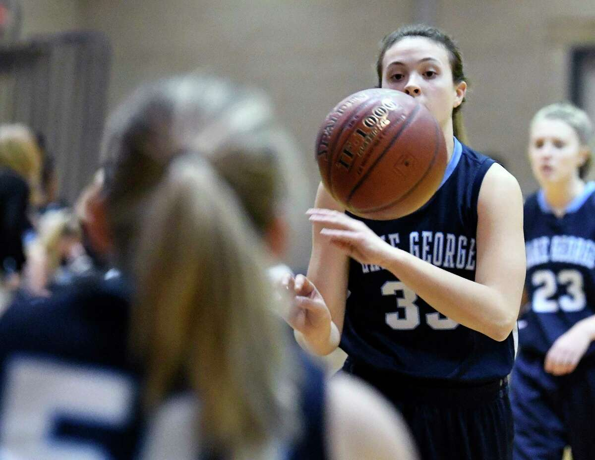 Lake George's Graceann Bennett before the start of a girls high school basketball game against Cohoes' on Thursday, Nov. 30, 2017, in Cohoes, N.Y. (Hans Pennink / Special to the Times Union) ORG XMIT: HP116