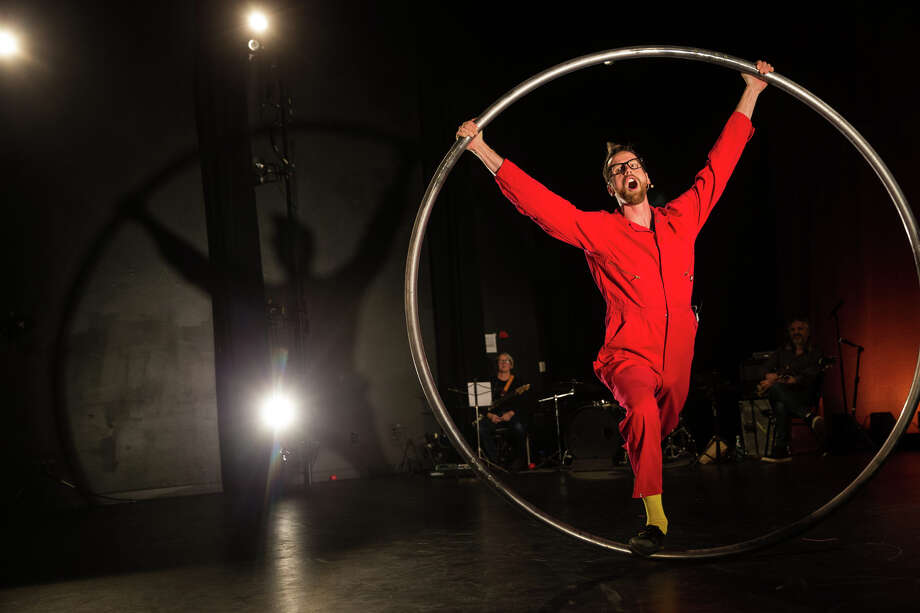 Ty Vennewitz performs on a rolling ring  during a dress rehearsal of Acrobatic Conundrum's Volume 5 show at 12th Ave Arts on Thursday, Nov. 30, 2017. Photo: GRANT HINDSLEY, SEATTLEPI.COM / SEATTLEPI.COM