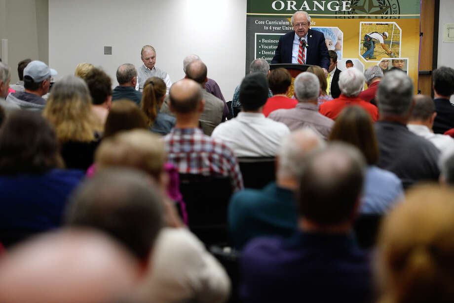 Michael Shahan, president of Lamar State College-Orange, moderates a public forum on the Orange County Hospital District election at the college on Thursday evening.  Photo taken Thursday 11/30/17 Ryan Pelham/The Enterprise Photo: Ryan Pelham / ©2017 The Beaumont Enterprise/Ryan Pelham
