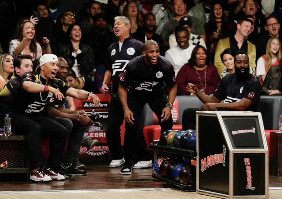 PHOTOS: A look at the celebrities at Thursday night's Ninth CP3 PBA Celebrity InvitationalTHE WOODLANDS, TX - NOVEMBER 30:  Chris Paul and James Harden watch Trevor Ariza hit a strike as they attends the State Farm Chris Paul PBA Celebrity Invitational at the Bowlero Woodlands on November 30, 2017 in The Woodlands, Texas.Browse through the photos above for a look at the Ninth CP3 PBA Celebrity Invitational. Photo: Bob Levey, Getty Images For PBA / 2017 Getty Images