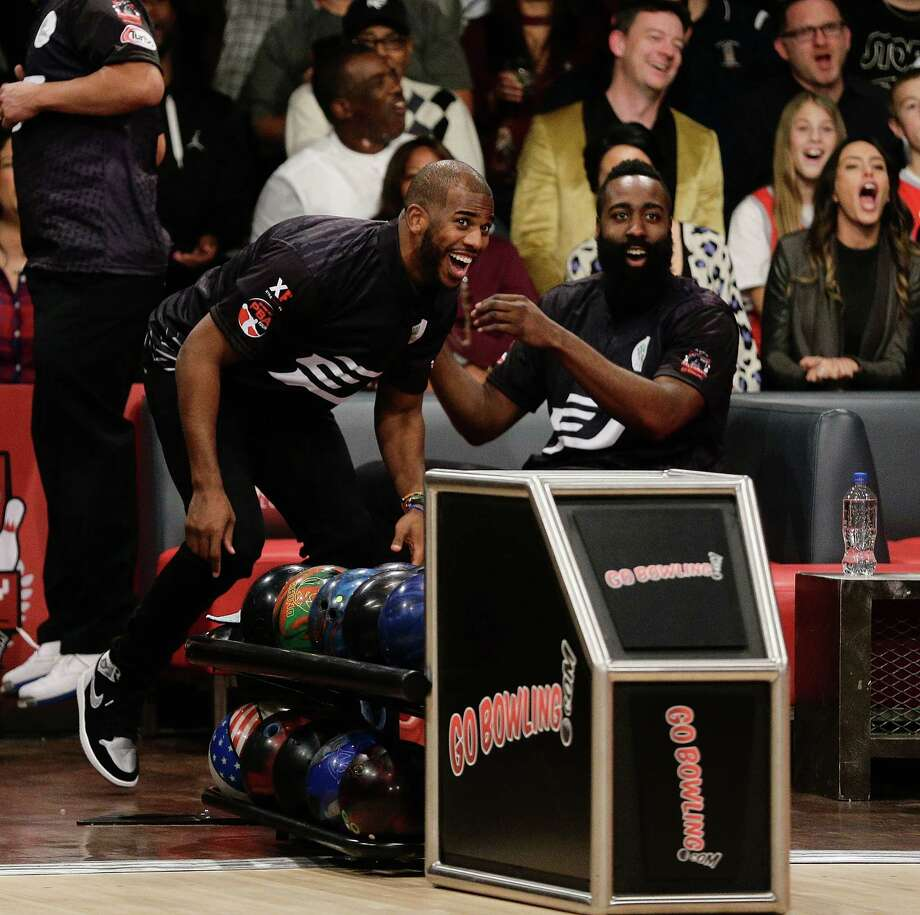 THE WOODLANDS, TX - NOVEMBER 30:  Chris Paul, left, and James Harden attends the State Farm Chris Paul PBA Celebrity Invitational at the Bowlero Woodlands on November 30, 2017 in The Woodlands, Texas. Photo: Bob Levey, Getty Images For PBA / 2017 Getty Images