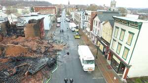 Photographs from a drone used by the Albany County shows the widespread destruction caused by Thursday's massive fire in downtown Cohoes. City officials say at least 27 buildings were destroyed or damaged by the blaze.