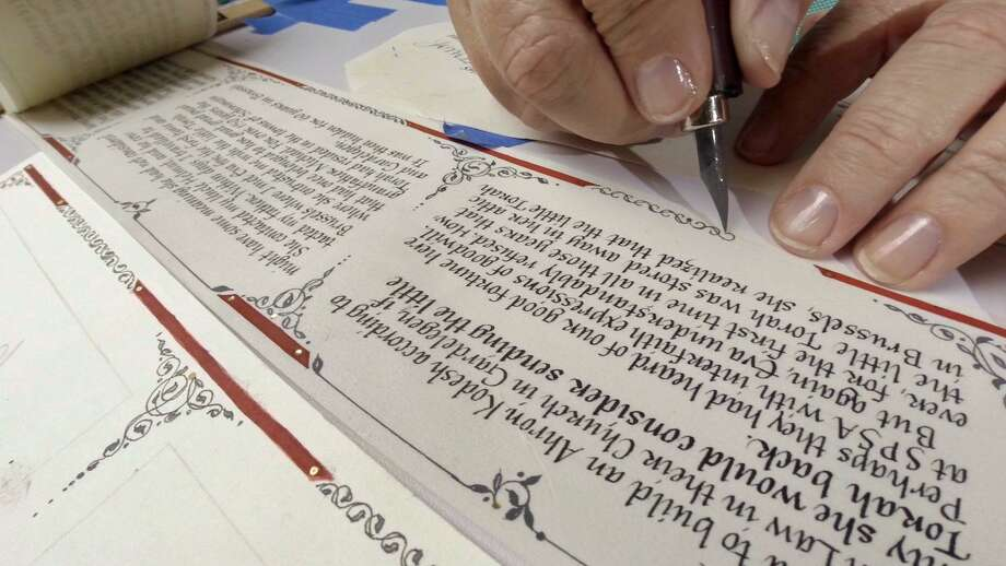 Calligrapher and manuscript illuminator Karen Gorst will be designing gift tags and cards at Saint Clair Stationers this weekend, free of charge.