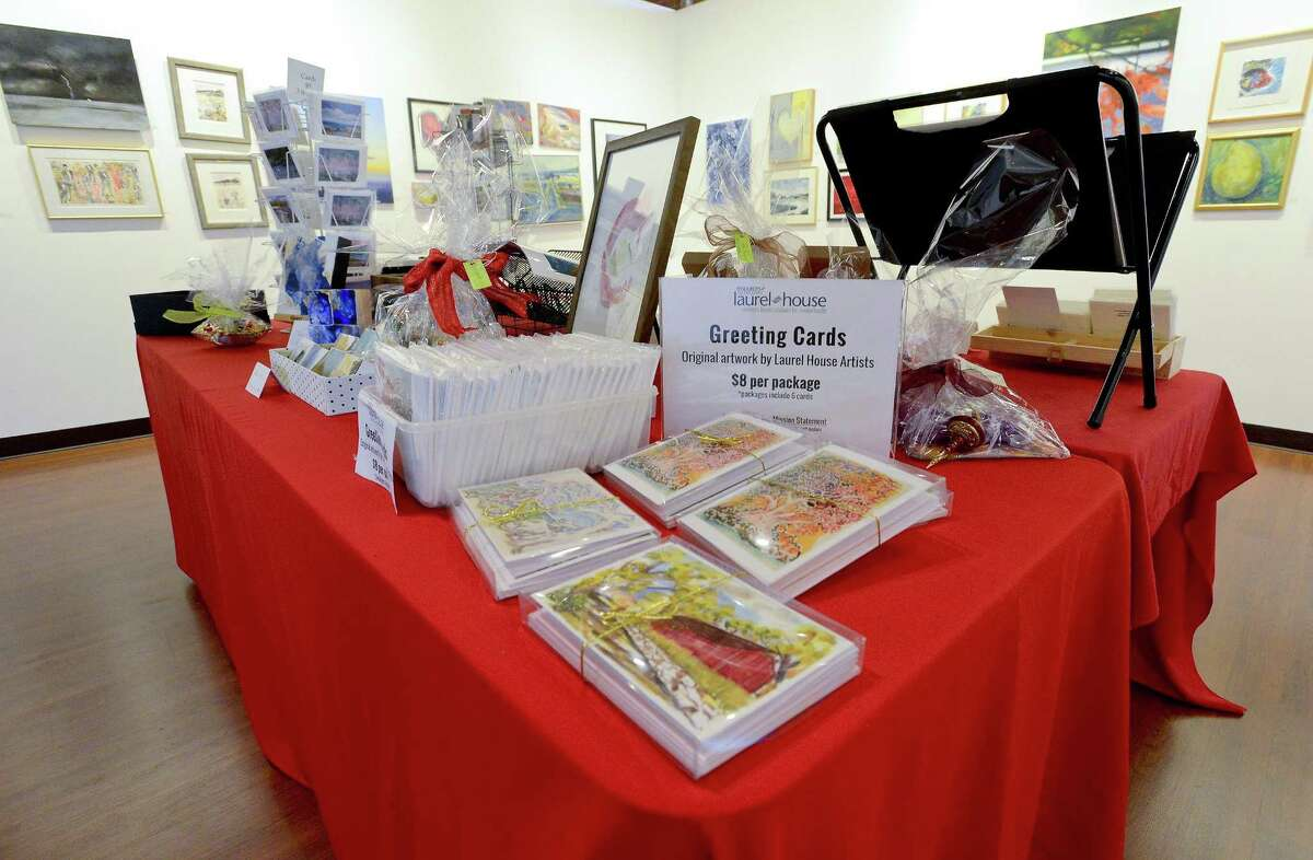 """Various works of art is displayed on Wednesday, Nov. 29, 2017, as The Loft Artists Association prepares to host it's annual holiday gift event """"Small Art and Crafts Market"""" in the Gallery on Pacific Street in Stamford, Connecticut. Loft Artist members and artists from Stamford's Laurel House were invited to bring together small drawings, paintings, photographs, sculptures, collages and other mixed media pieces, as well as a variety of hand crafted items such as cards, ceramics, jewelry and ornaments. A special Holiday reception is planned for Saturday, December 2, from 2 to 4:30 PM."""