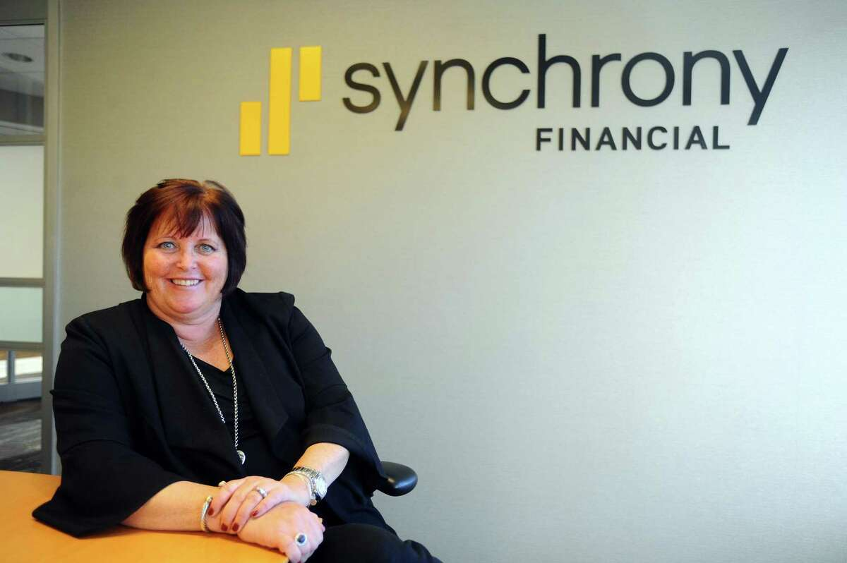 Synchrony Financial CEO and President Margaret Keane poses for a photo inside Synchrony headquarters, at 777 Long Ridge Road, in Stamford, Conn., on Monday, Nov. 27, 2017.