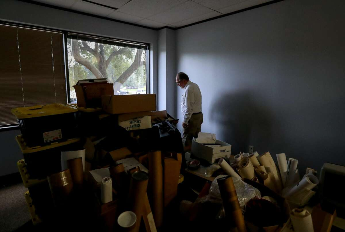 Richard Long, supervisory natural resources manager with the U.S. Army Corps of Engineers, in temporary offices for the U.S. Army Corps of Engineers, in Houston. The Corps' offices flooded during Hurricane Harvey.