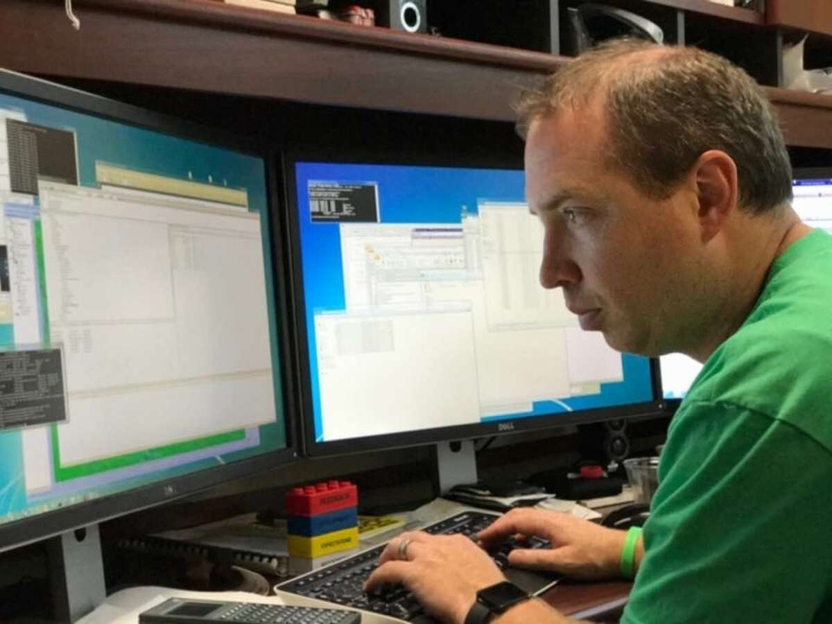 Aaron Byrd, civil research engineer in ERDC?'s Coastal Hydraulics Laboratory, works on inundation maps for the Houston area, Tuesday, Aug. 29, 2017, in Vicksburg, MS.