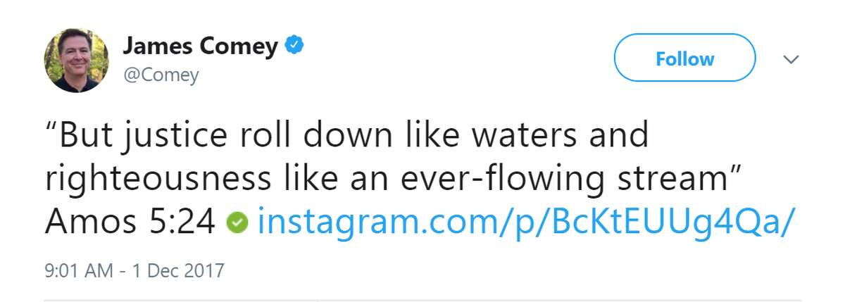 While the Instagram account is unverified, but James Comey tweeted a link to it from his official Twitter page.