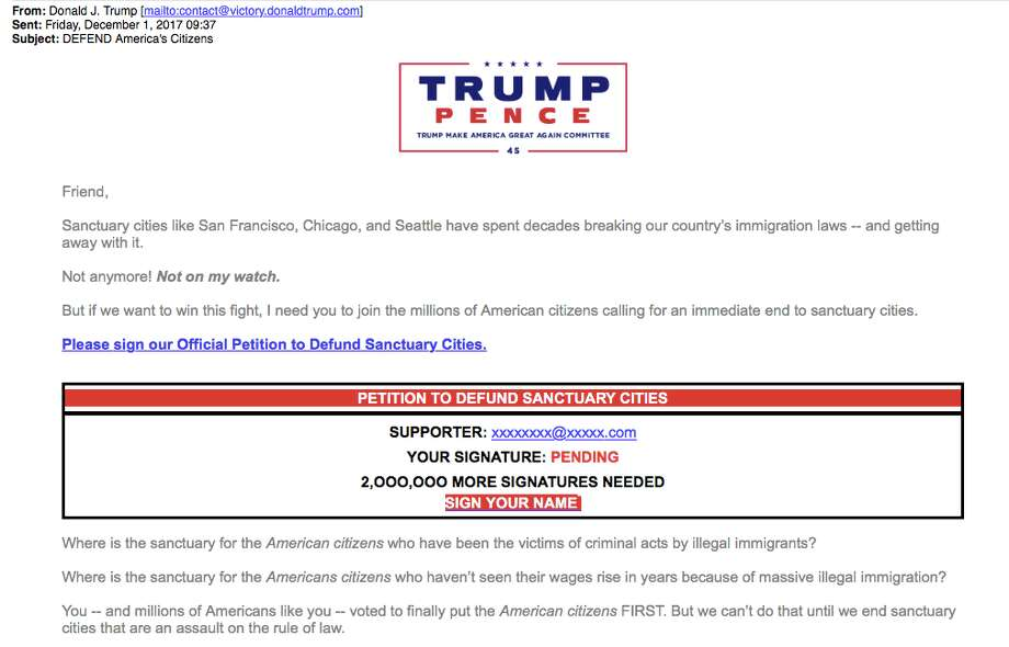 "President Trump sent a fundraising email blasting cities like San Francisco and Seattle for ""breaking our country's immigration laws"" the morning after Jose Ines Garcia Zarate was found not guilty of murder and manslaughter  in the Kate Steinle trial. Click through the gallery to see reactions to the verdict on social media. Photo: Screenshot"