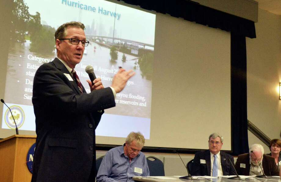 """Lessons earned: Stephen Costello, the city of Houston's chief resilience officer or """"flood czar,"""" praised Clear Lake City's golf course-turned-reservoir project at a recent flood forum at NASA's Gilruth Center. His former engineering firm developed one of the biggest projects inside the Barker Reservoir flood pool. Around the same time, the firm was paid as a consultant to study the reservoir flooding risks to thousands of homes for Harris County Flood Control."""
