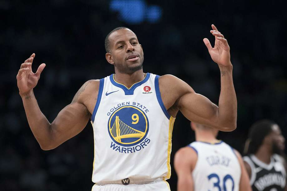 Golden State Warriors forward Andre Iguodala gestures during the first half of an NBA basketball game against the Brooklyn Nets, Sunday, Nov. 19, 2017, in New York. (AP Photo/Mary Altaffer) Photo: Mary Altaffer, Associated Press
