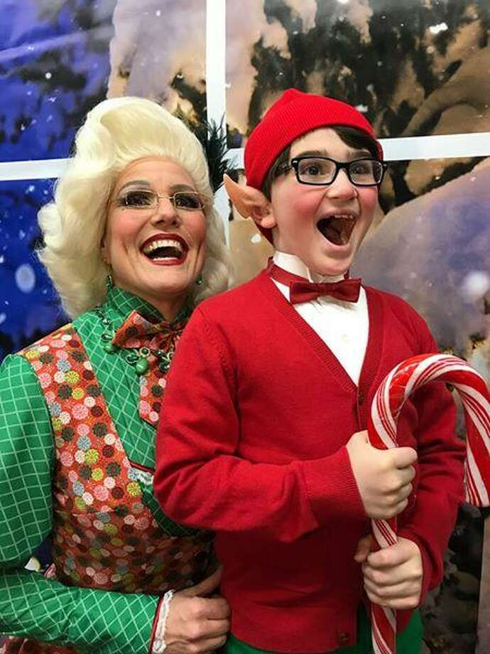 "Mrs. Claus (Shelley Marsh Poggio, of Durham) oversees an elf named Tidings (Sebastian Bianchine, of New Haven) in Pantochino's new holiday musical, ""School for Elves,"" in Milford through Dec. 17. Photo: Pantochino / Contributed Photo"