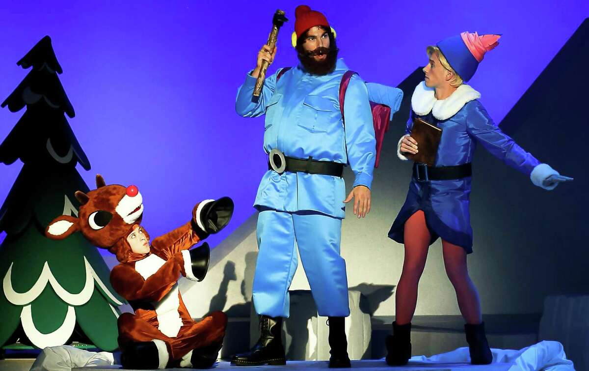 Rudolph, left, with Yukon Cornelius and Hermey in a scene from the stage version of