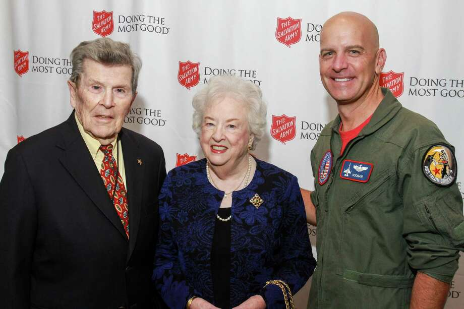 Honorees William and Sally Slick, from left, with keynote speaker Maj. Dan Rooney Photo: Gary Fountain, For The Chronicle / Copyright 2017 Gary Fountain