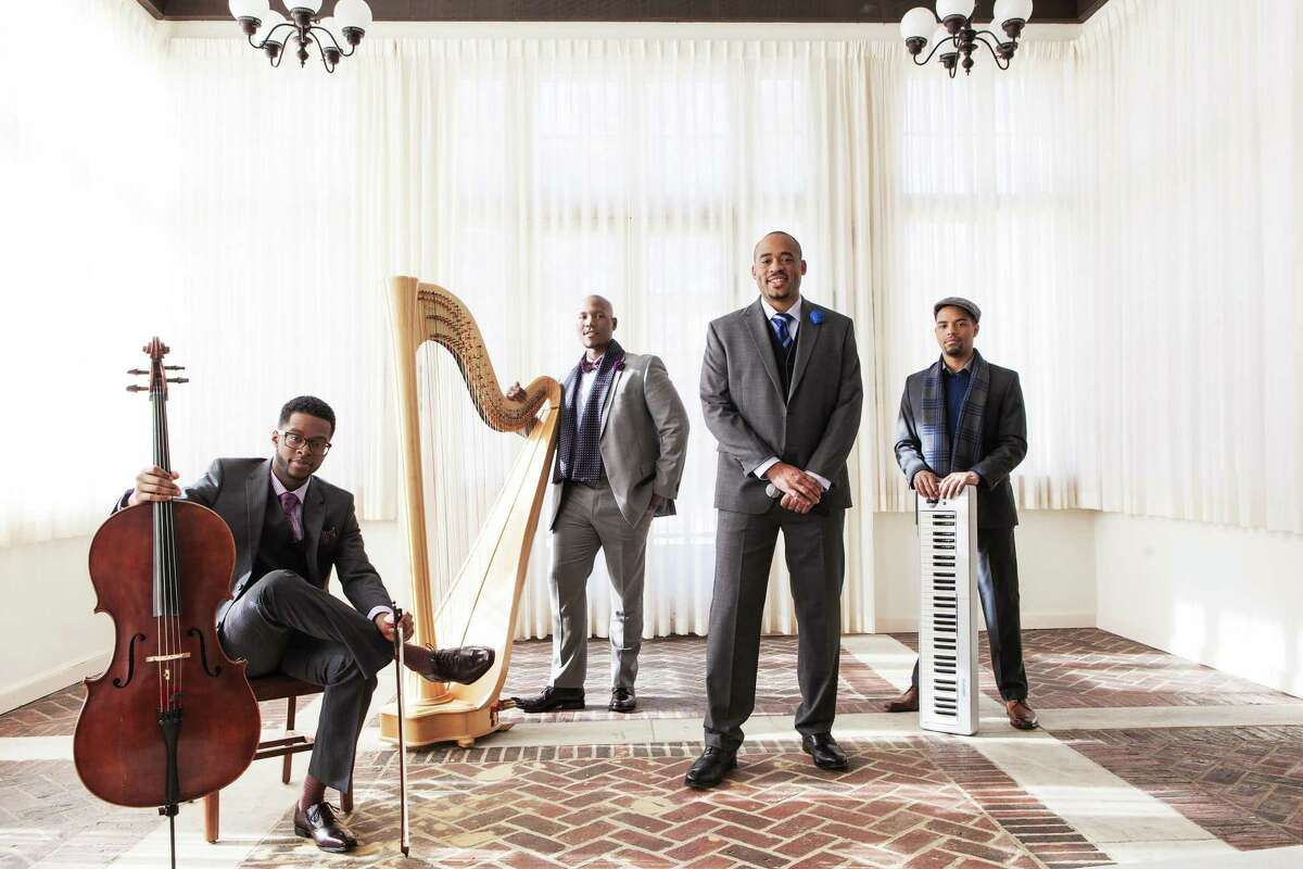 Members of Sons of Serendip, cellist and vocalist Kendall Ramseur, harpist Mason Morton, vocalist Micah Christian and pianist and guitarist Cordaro Rodriguez, will perform at the Palace Theatre in Stamford on Dec. 8.