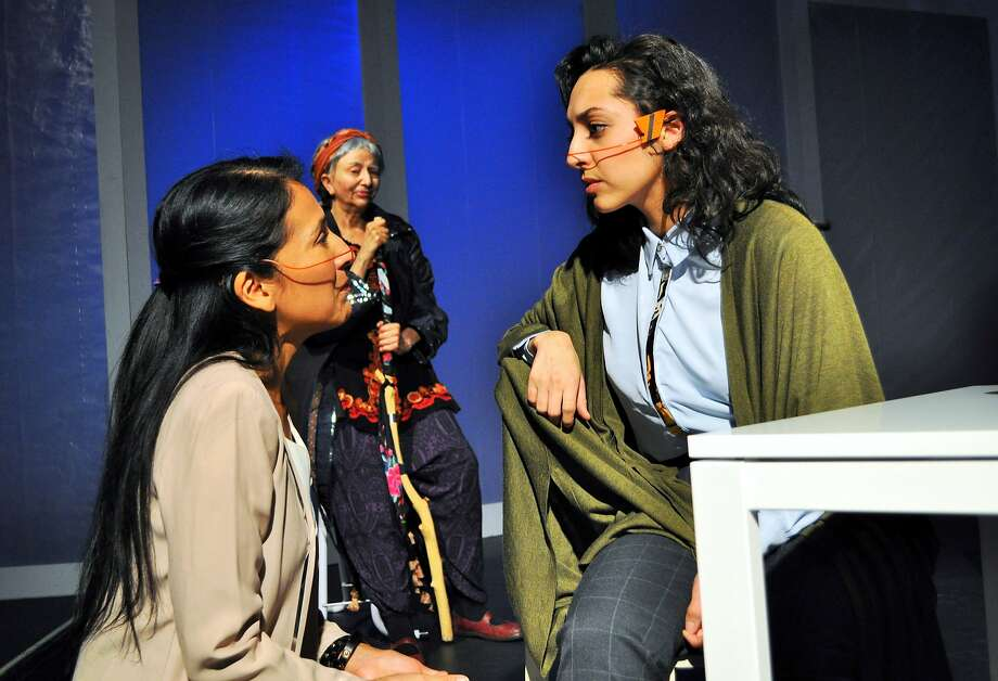 "Gianna DiGregorio Rivera (right) and Elena Estér in ""Ageless."" Photo: Annie Tillis, Quantum Dragon Theatre"