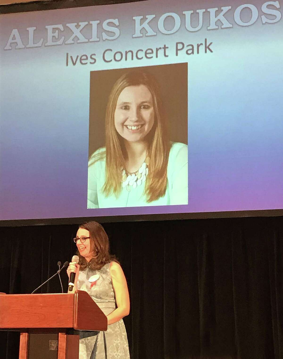 Alexis Koukos gives a speech as she accepts a Millennial Award from Westfair Communications on Nov. 14, 2017, in White Plains, N.Y., in this photo taken by Phyllis Cortese.