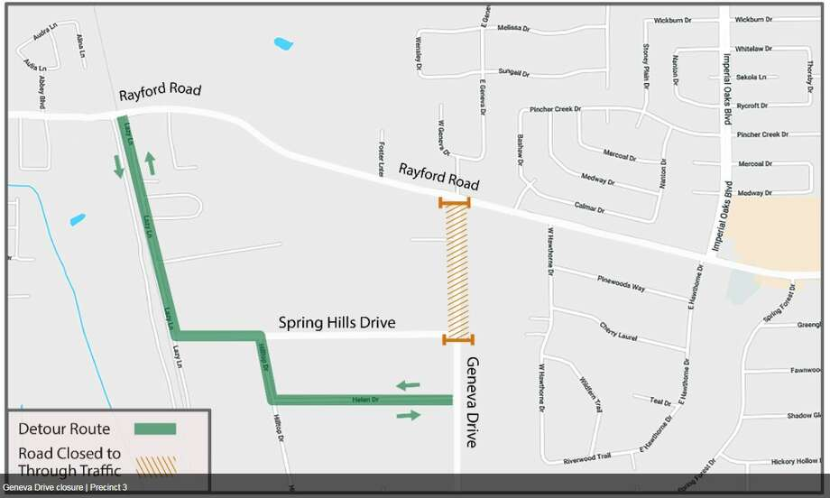 A stretch of road on Geneva Drive between Rayford Road to Spring Hills Drive will be closed to through traffic beginning Dec. 4 and possibly until early 2018. Drivers are being asked to use detours if possible. Photo: Montgomery County