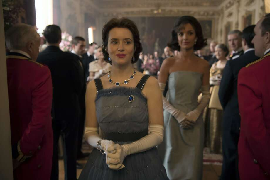 "Queen Elizabeth (Claire Foy) and Jacqueline Kennedy (Jodi Balfour) in ""The Crown,"" season two. Photo: Alex Bailey/Netflix"
